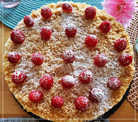 Jogurtinis tortas su avietėmis – tortas be kepimo